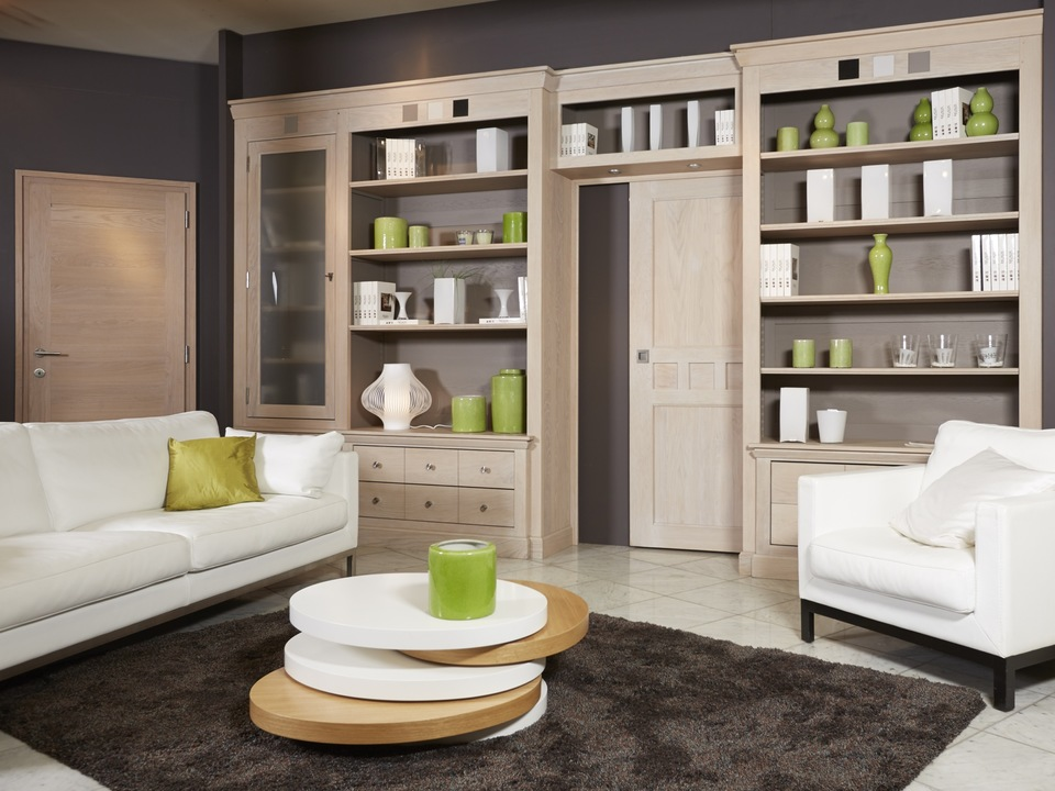 biblioth que moderne sur mesure linea contour de porte salon blanc en cuir duvivier. Black Bedroom Furniture Sets. Home Design Ideas