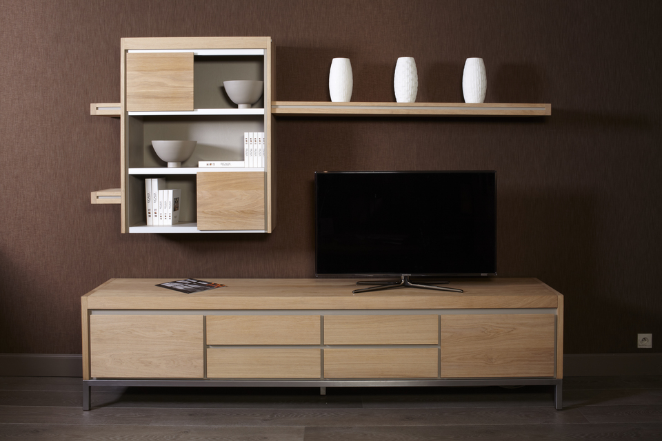 meuble tv loft rigaux en ch ne massif r alisation sur. Black Bedroom Furniture Sets. Home Design Ideas